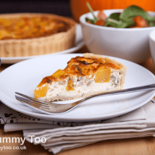 Roast pumpkin and caramelised onion quiche