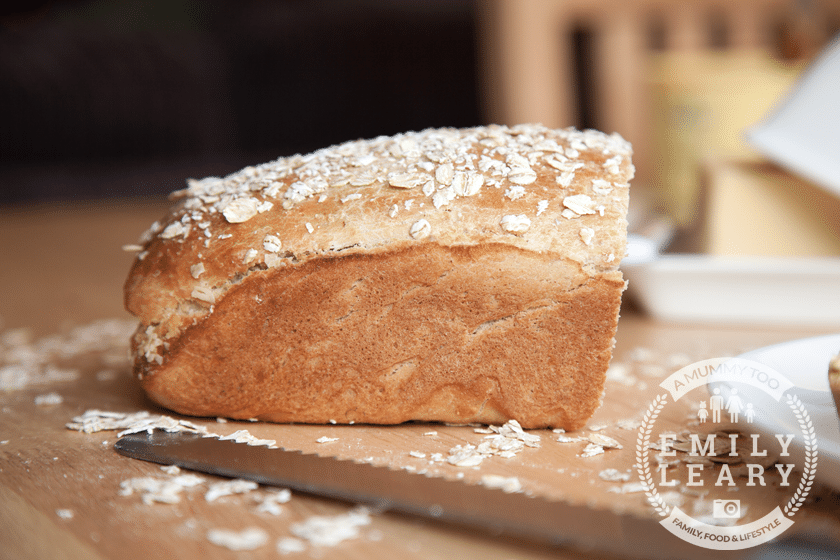 Honey and oat bread topped with oats