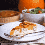 Roast pumpkin and caramelised onion quiche (recipe)