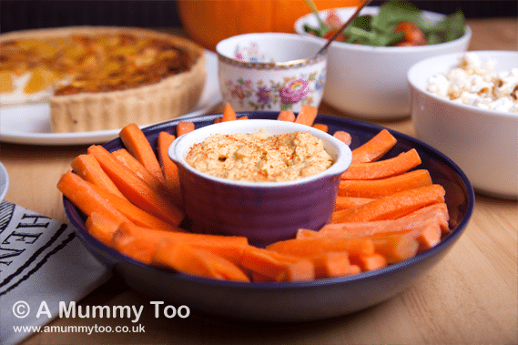 Roast pumpkin, sour cream and garlic dip (recipe) - great for Halloween