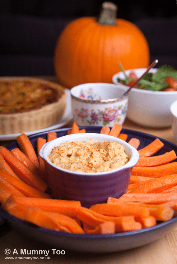 Pumpkin dip with sour cream and garlic, served with crudites