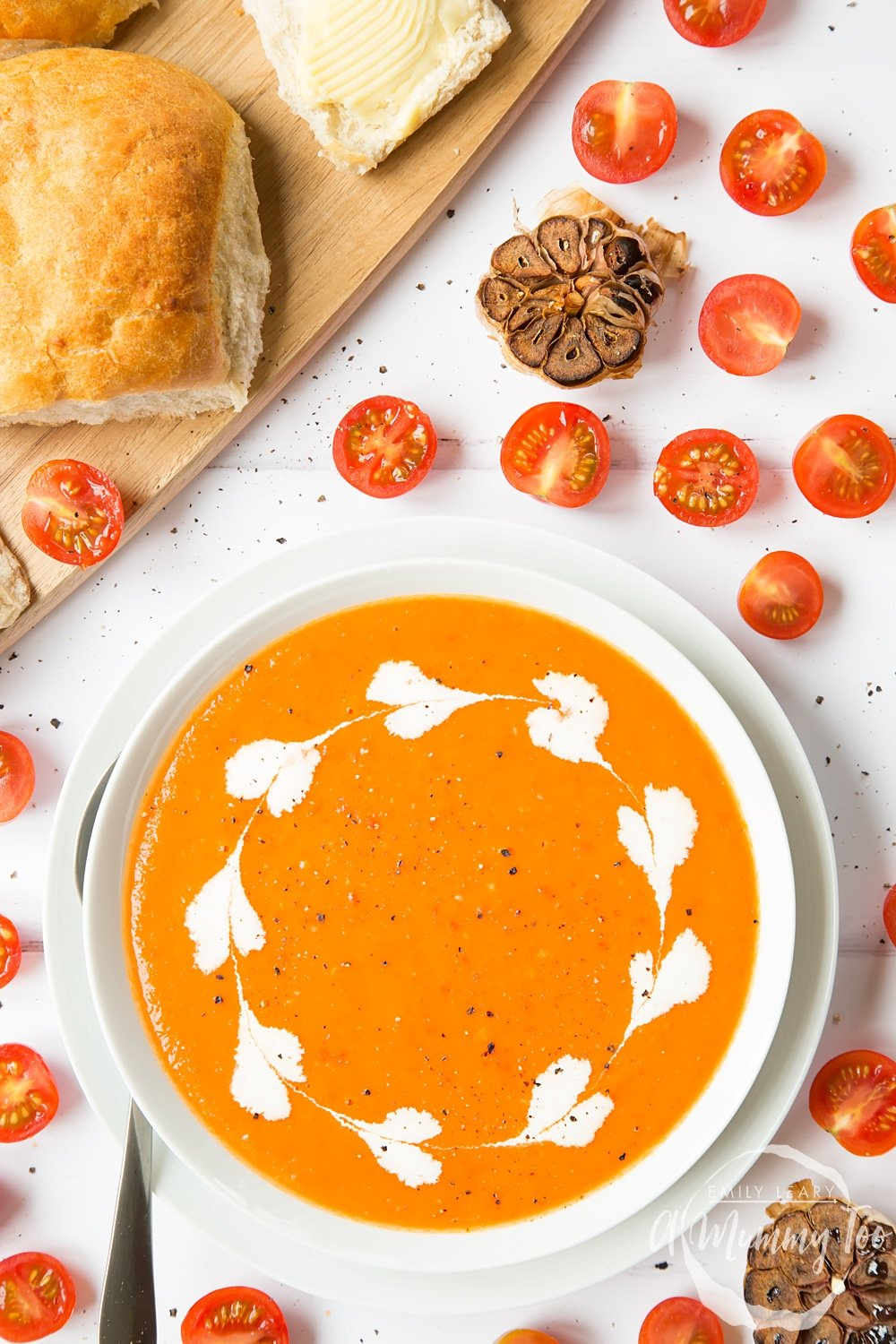 A bowl of delicious roasted tomato and garlic soup