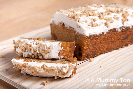 Vegan carrot and date loaf with cinnamon walnut frosting (gluten-free)