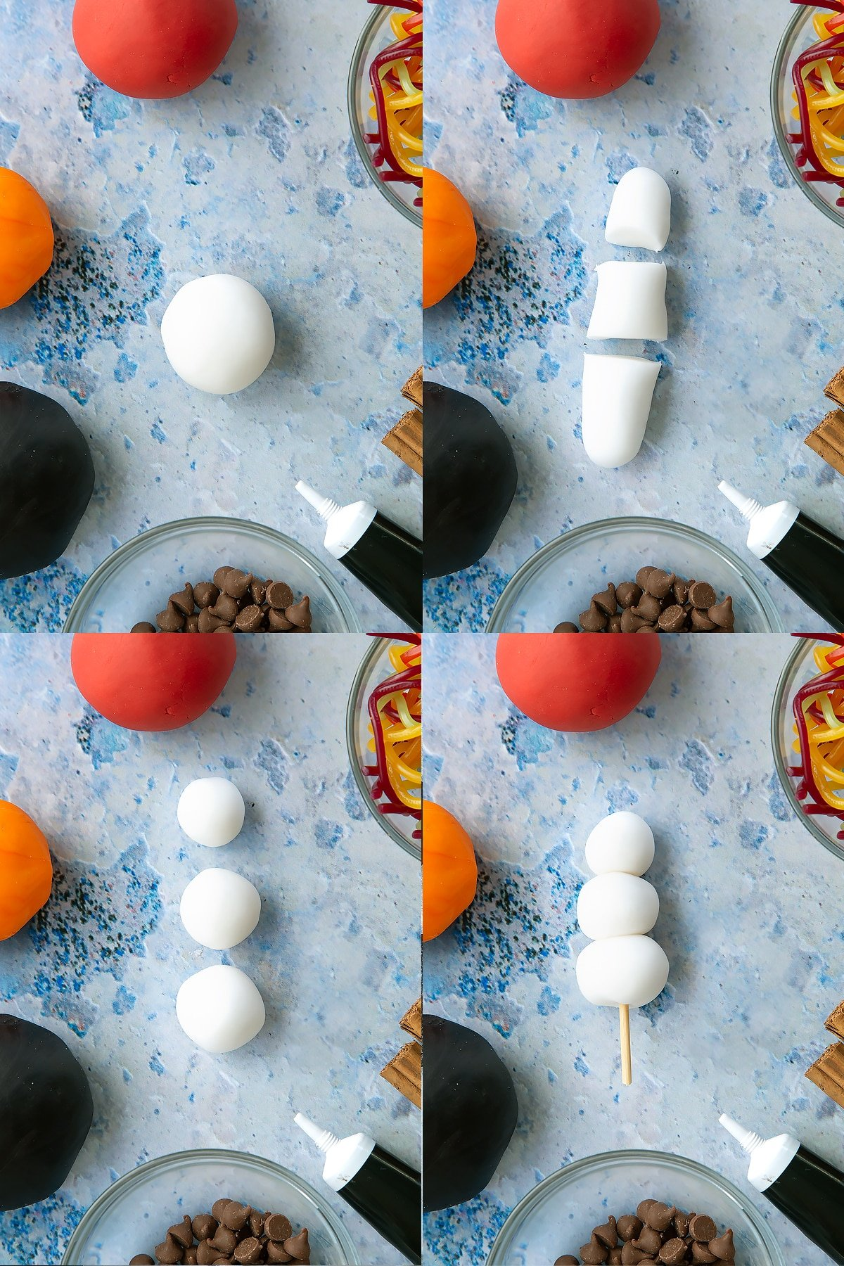 Four process images of making the snowmen for the snowman cupcakes.