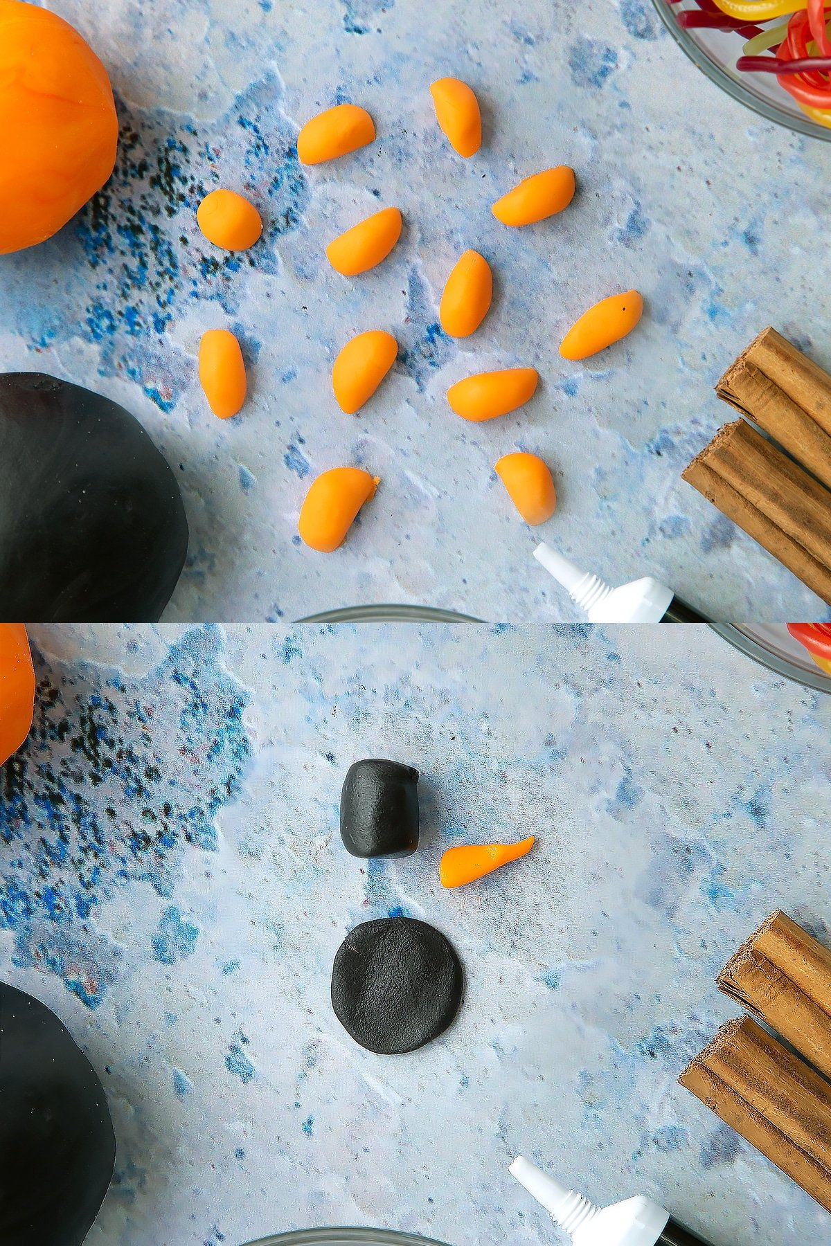 Two process images demonstrating how the black and orange sugar paste is manipulated to make the snowmen for the top of the snowman cupcakes.