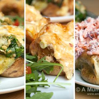 Jacket potato three ways (double cheese, homemade coleslaw and pesto chicken)