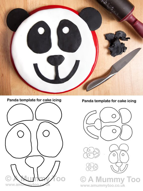 Panda cake recipe with a free printable template to download and use