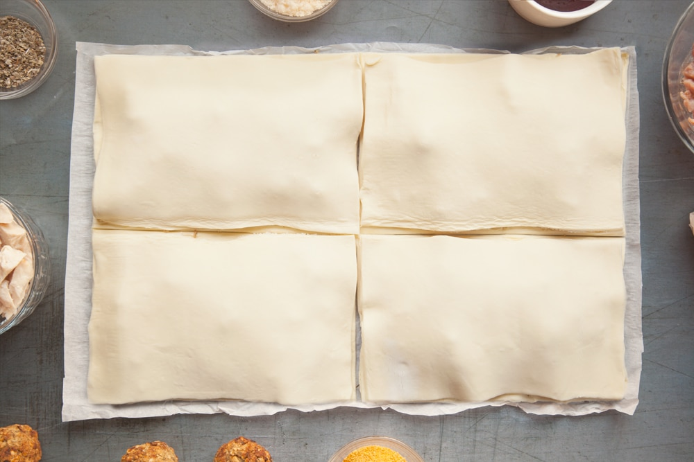 Use the second layer of pastry to create a top for your festive slices