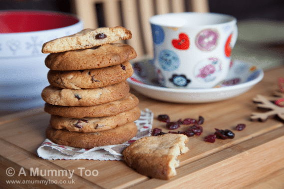 These soft and chewy white chocolate and cranberry cookies are perfect with a cup of tea