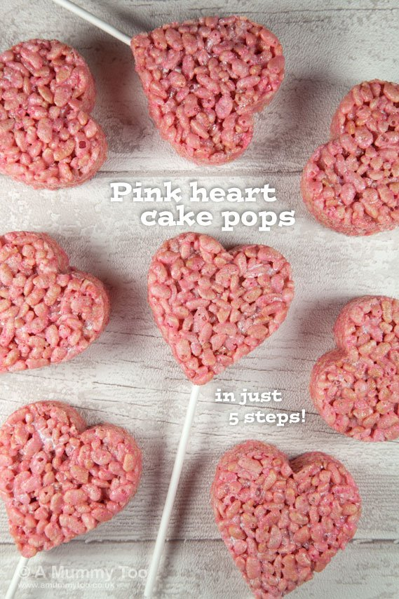 Super cute pink heart crispy cake pops (recipe) - A Mummy Too