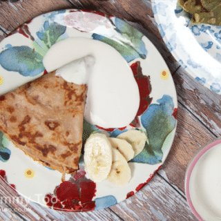 Cranberry & apple flavour pancakes with fruity crème fraîche