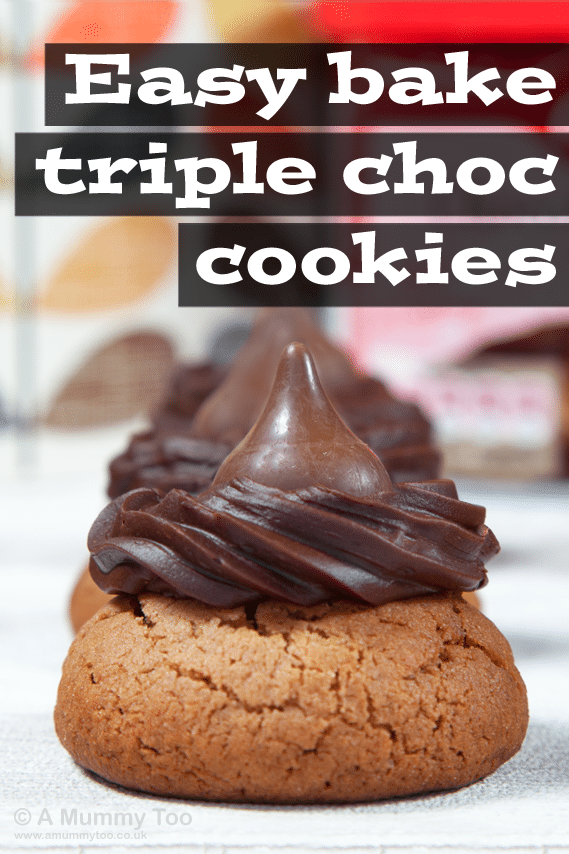 Easy bake triple chocolate cookies, topped with a chocolate piece