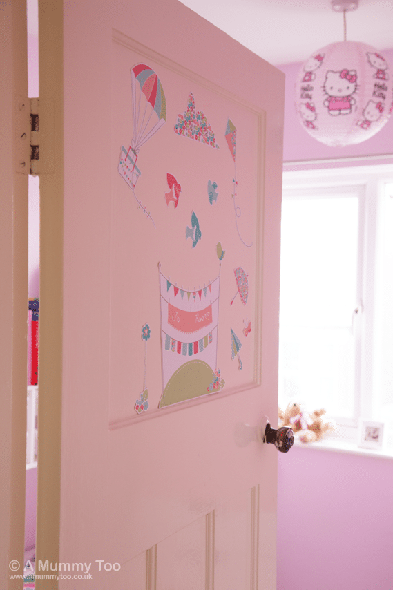 Those stickers on the door are from Stuck on You and they can be personalised with any name. They bring a touch of Miss J's personality to the room before you even make it inside.