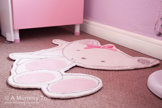 Cute and soft NEXT Chloe Cat Rug rug in pink and white