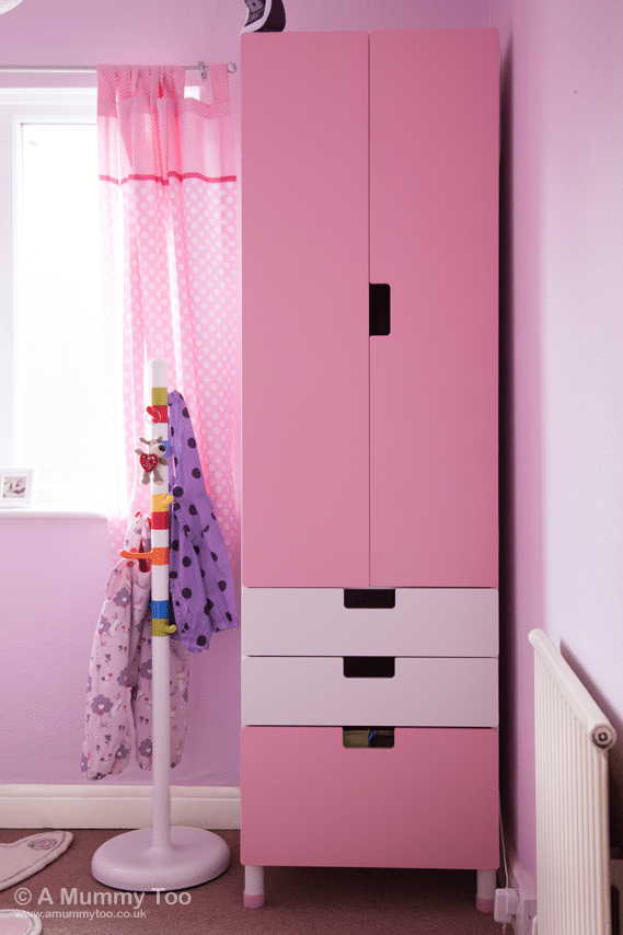 The KROKIG clothes stand offers a flash of colour and a place to store her coats and outdoor wear, and has a weighted base to prevent tipping. Meanwhile, the tall, slim STUVA wardrobe with a distinctively IKEA shape and style is made less overbearing with a combination of soft pink and white doors and drawers.