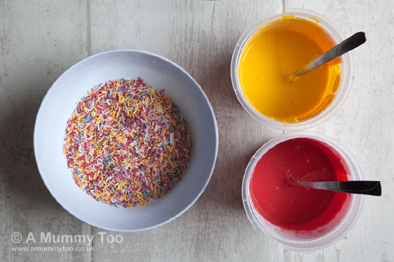 Colour melts and sprinkles ready to decorate the cake pops