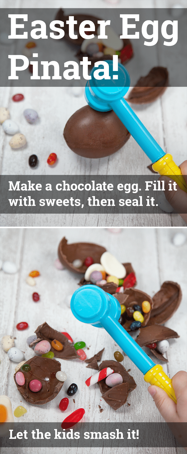 EASTER EGG PINATA! Make a chocolate egg, fill it with sweets, let the kids smash it! A silly, simple, fun activity to try this Easter.