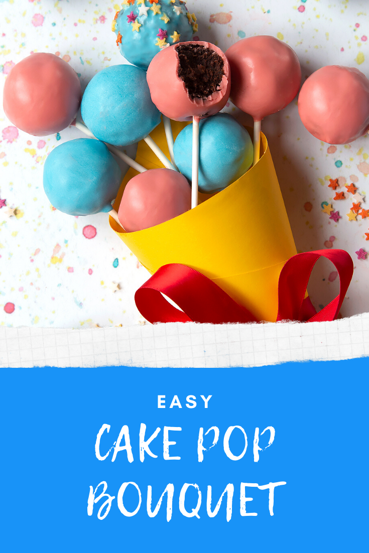A cake pop bouquet surrounded by other cake pops. The bouquet is made from several blue and pink cake pops, gathered together and wrapped in a yellow paper cone with a red ribbon. Caption reads: easy cake pop bouquet