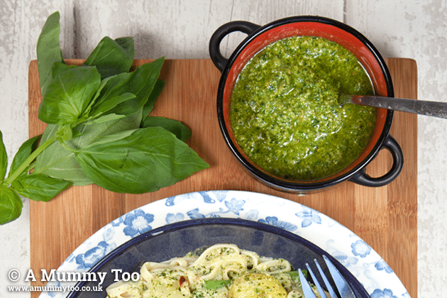 Linguine alla genovese, served with pesto
