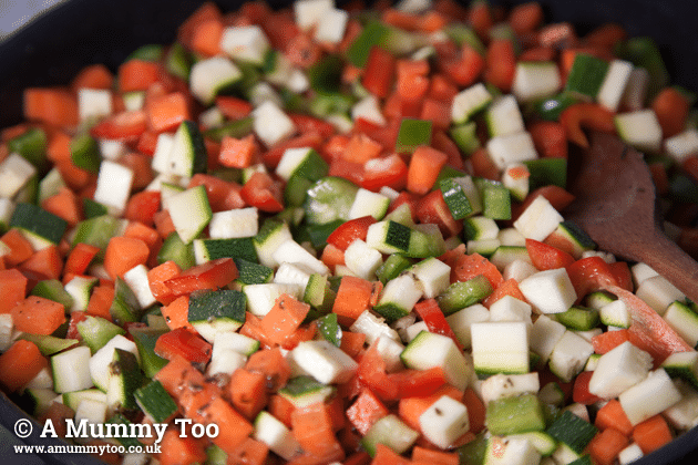 Frying the veggies in a pan