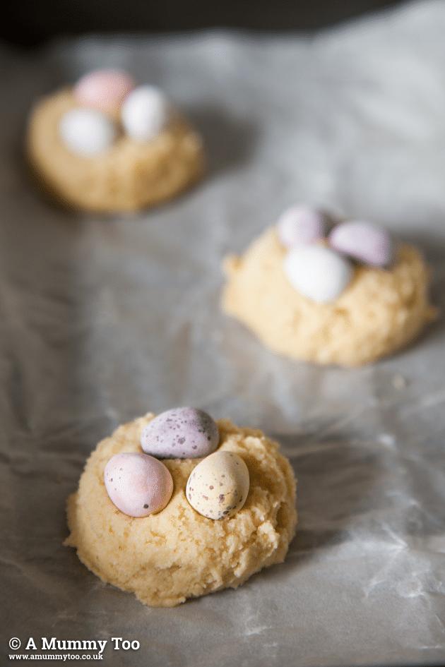 Mini eggs cookies ready to bake