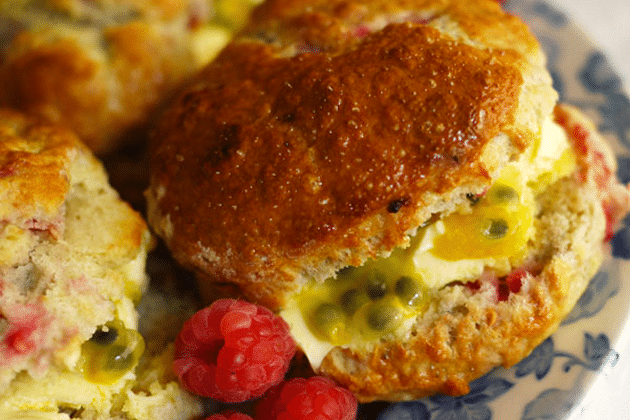 Raspberry Scones with Passion Fruit and Clotted Cream