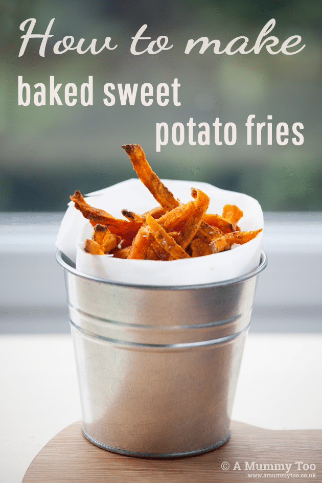 Sweet potato fries go great with burger and salad. They're very easy to make. Here's a video demonstration of the entire method, with written instructions too.