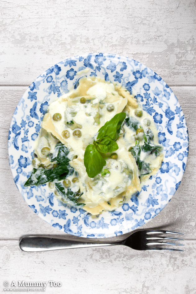 Spinach and ricotta ravioli recipe, as featured in ASK Italian's cookbook, served on a patterned plate