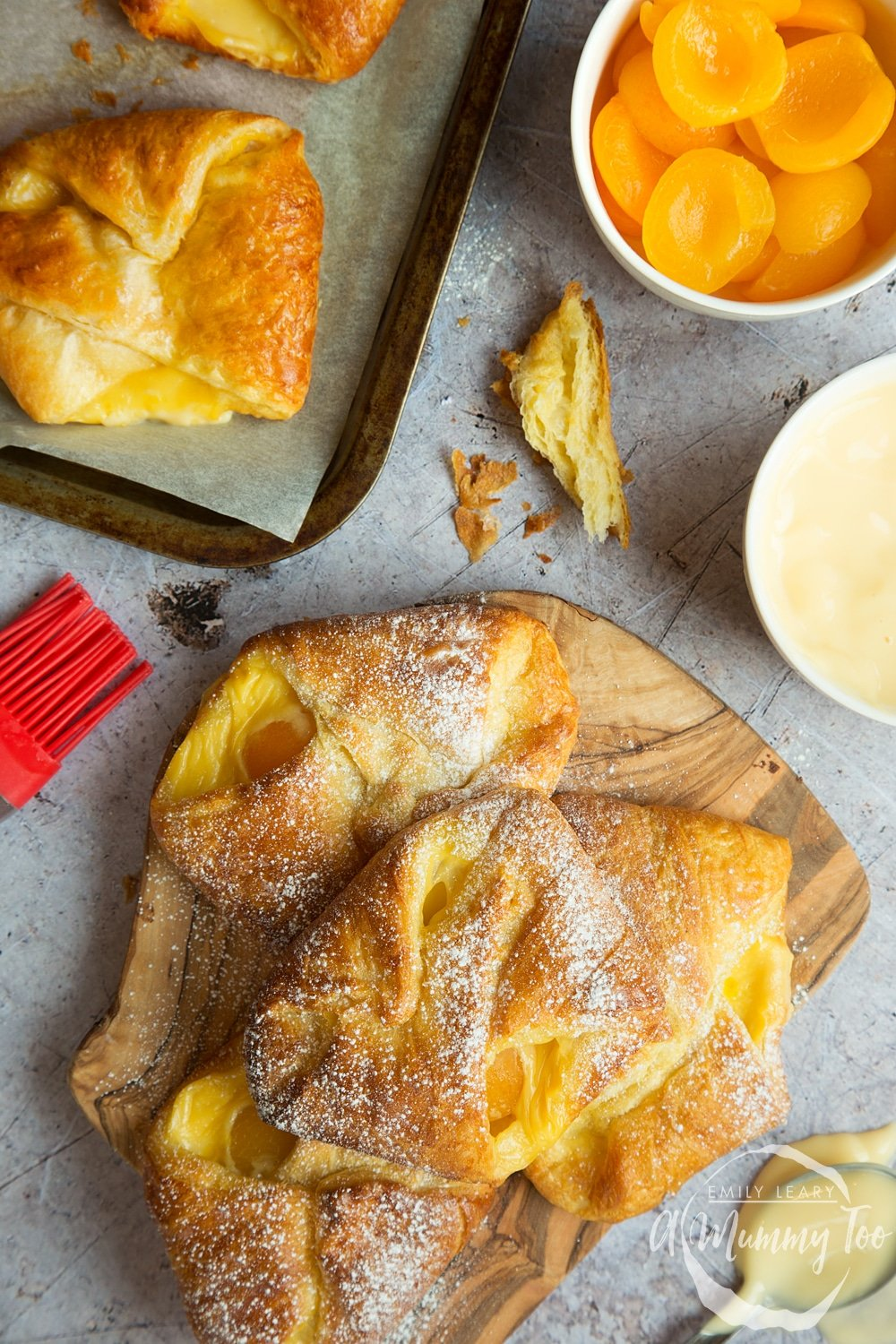 Close up of apricot pastries ready to eat