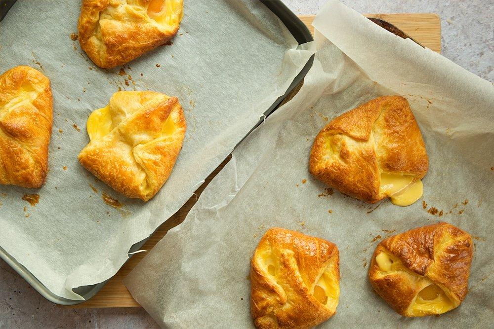 Baking apricot pastries until golden brown