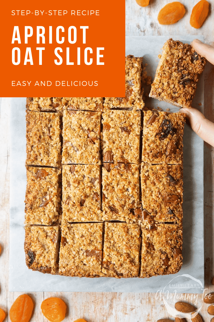 Graphic text APRICOT OAT SLICE step-by-step recipe above front angle shot of  Apricot oat slices served on a brown bowl