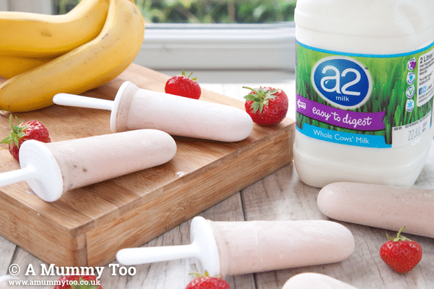 Strawberry and banana smoothie ice lollies, made with a2 milk