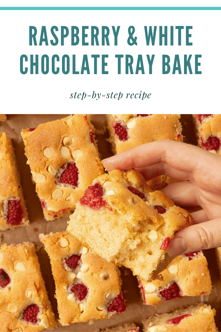 A raspberry and white chocolate traybake cut into 16 pieces. A hand holds a piece. Caption reads: raspberry and white chocolate traybake step-by-step recipe