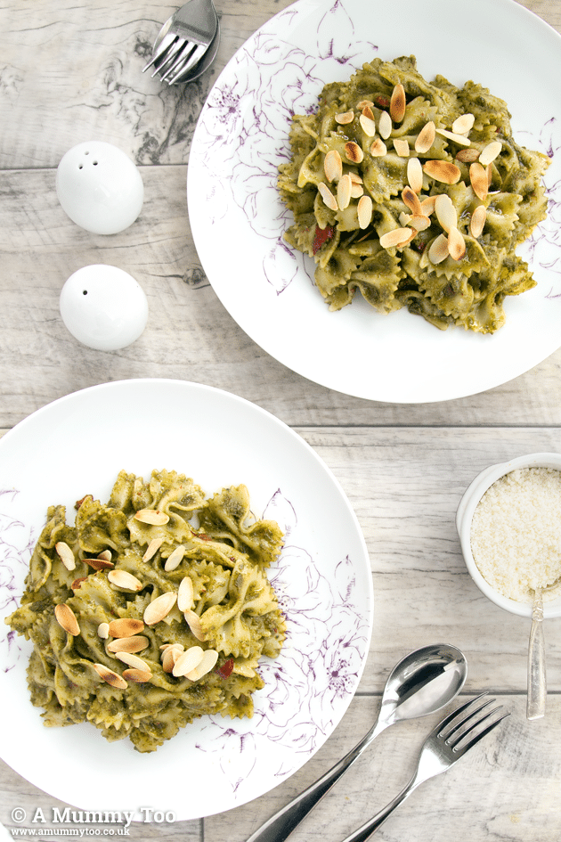 Basil and almond chilli pesto pasta, served for two