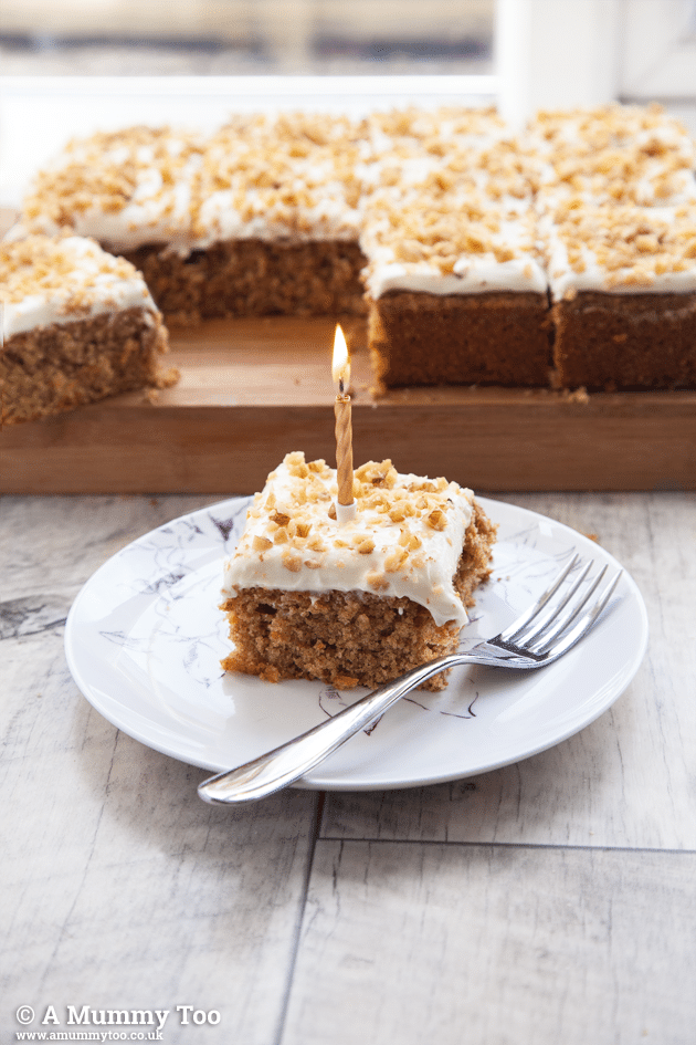 Perfect, simple carrot cake tray bake with cream cheese frosting - A ...