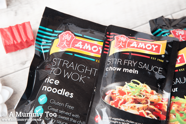 These vegetarian recipes feature products from Amoy, including these rice noodles