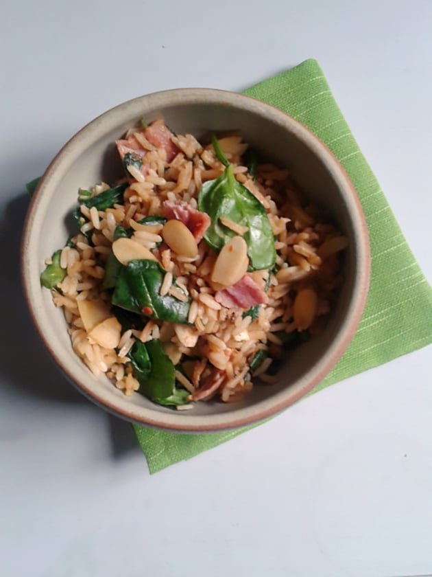 bacon-spinach-and-almond-rice