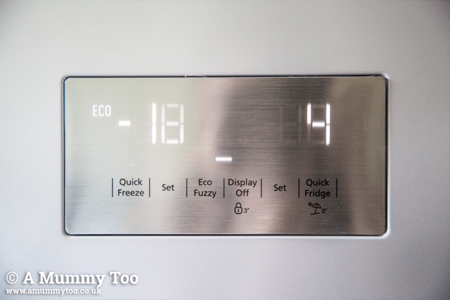 The Beko fridge freezer control panel
