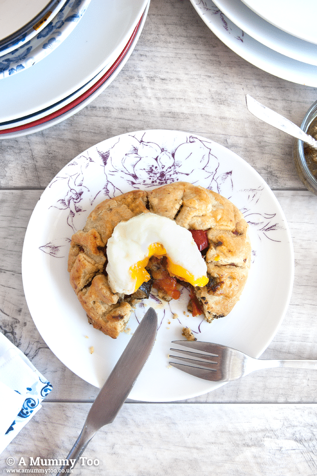 Roast vegetable mini galette with poached egg (less than £1 per head)