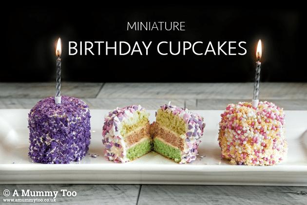 Miniature Birthday Cupcakes