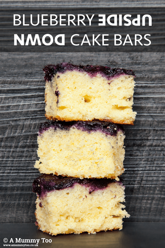 Upside down blueberry cake bars stacked