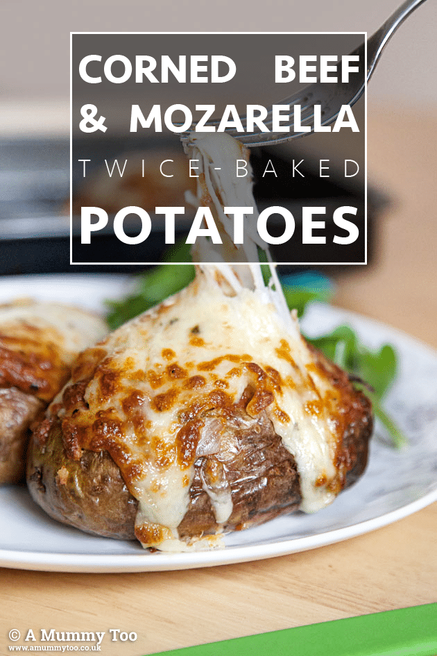 Corned beef & mozzarella twice-baked potatoes - how to make this tasty light snack or meal for two at home