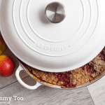 Spiced plum, apple and red wine crumble