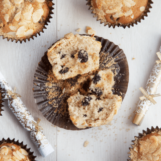 Cinnamon and orange scented fruity muffins with a sugared crust