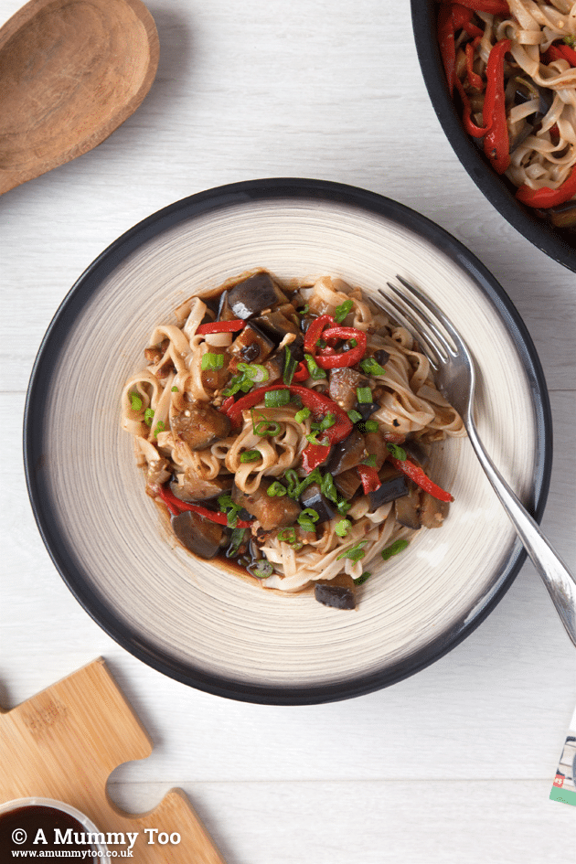 Overhead photo of this Japanese-inspired aubergine stir-fry, made with a recipe from Gousto