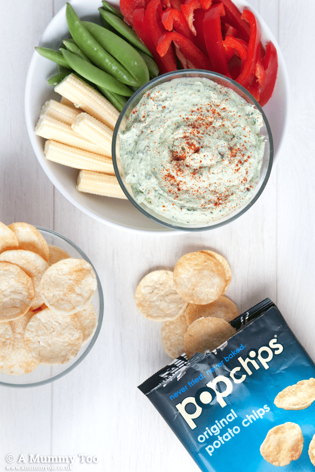 A tasty vegan creamy pesto dip, delicious with original Popchips