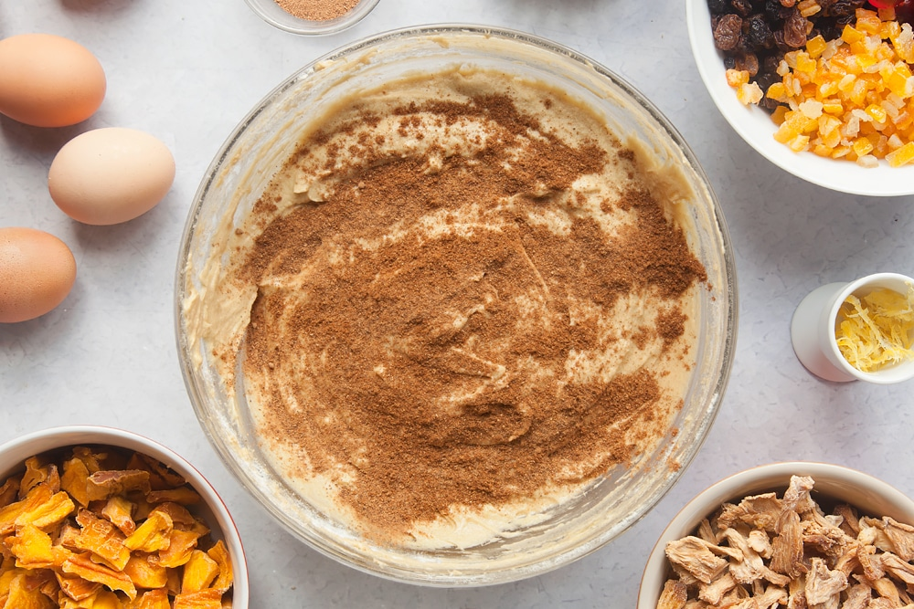 Tropical fruit cake mix with added spice and nutmeg.