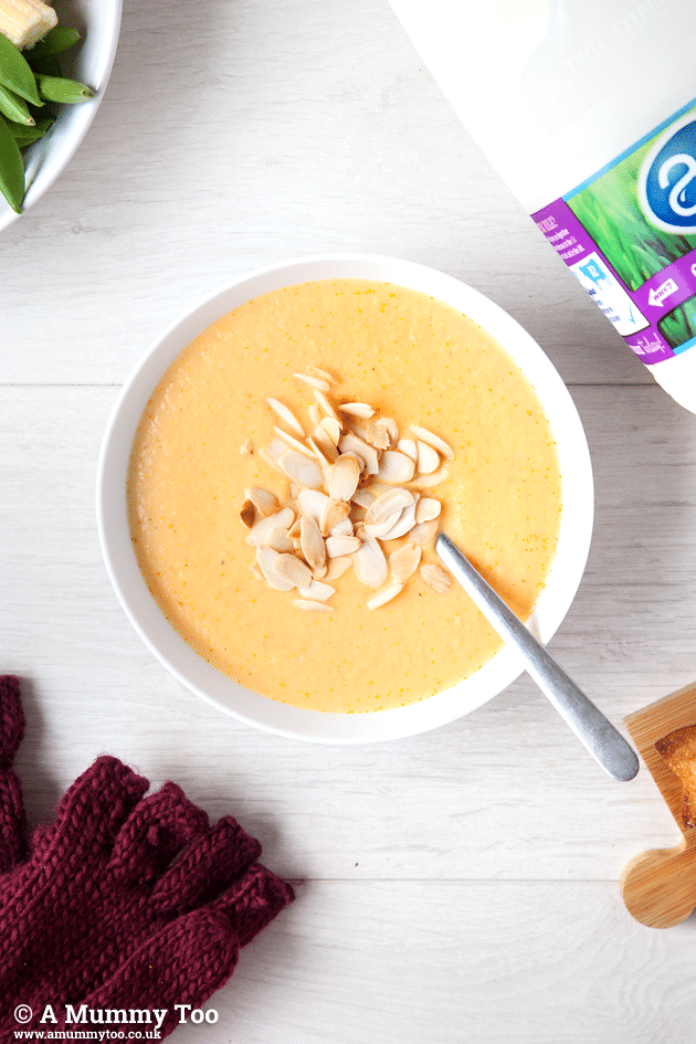 Winter warmer! Creamy carrot and swede soup with toasted almonds