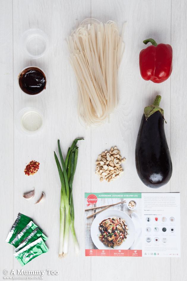 Ingredients for this Japanese aubergine stir-fry