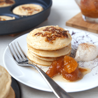 White chocolate and macadamia nut pancakes with caramelised apricots